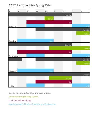 tutor schedule spring 2014
